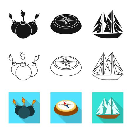 Isolated object of travel and attributes sign. Collection of travel and seafaring vector icon for stock. Stok Fotoğraf - 129901481