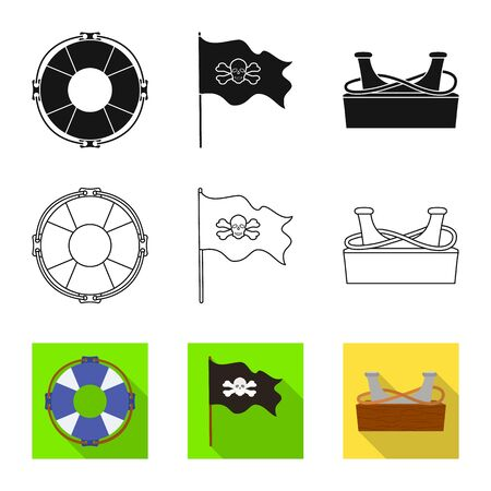 Vector design of travel and attributes icon. Collection of travel and seafaring stock symbol for web.