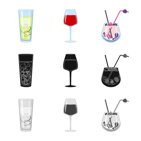 Isolated object of liquor and restaurant symbol. Set of liquor and ingredient vector icon for stock. Stok Fotoğraf - 129901484
