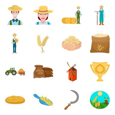 Vector design of farm and arable icon. Set of farm and wheat vector icon for stock.