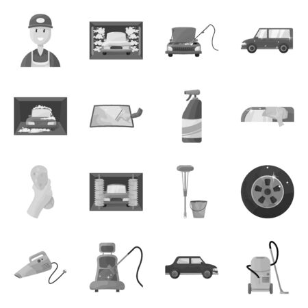 Isolated object of carwash and care icon. Set of carwash and cleaning stock symbol for web.