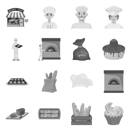Vector design of bakery and natural icon. Set of bakery and business vector icon for stock. Illustration
