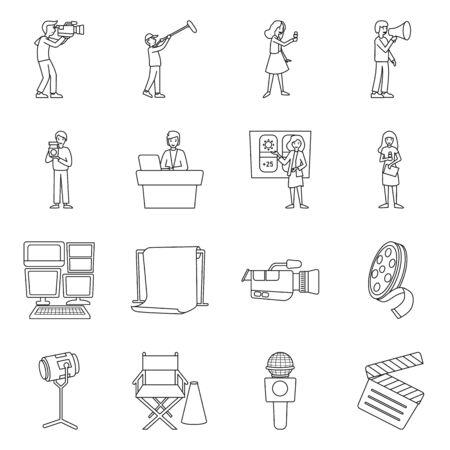 Vector illustration of news and studio logo. Collection of news and tv stock vector illustration.
