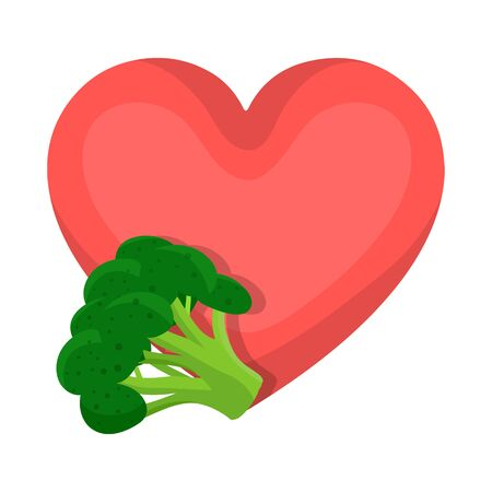 Vector illustration of broccoli and vegetables icon. Set of broccoli and heart vector icon for stock.