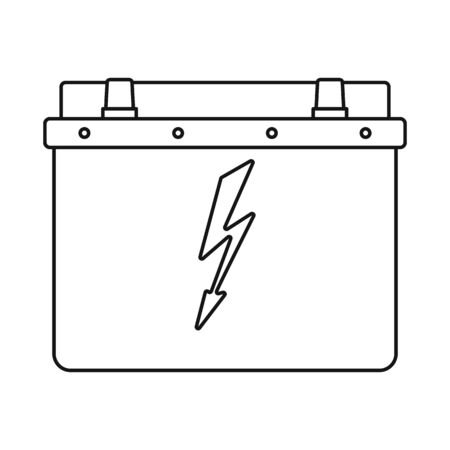 Vector illustration of battery and car icon. Collection of battery and clean stock vector illustration.