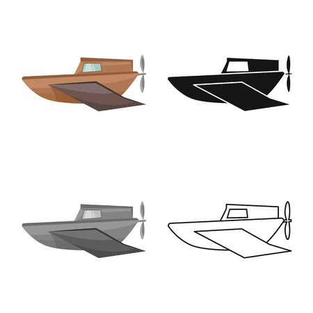 Vector design of boat and old sign. Web element of boat and longboat stock vector illustration.