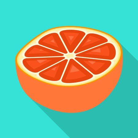 Vector illustration of grapefruit and juice. Collection of grapefruit and fruit stock vector illustration. Stok Fotoğraf - 130008256