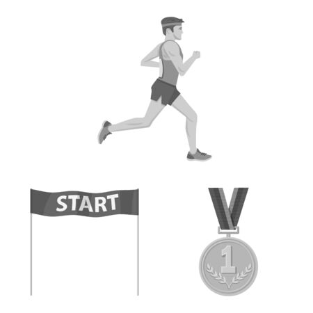 Vector illustration of success and marathon sign. Collection of success and winner stock symbol for web. Stock Illustratie