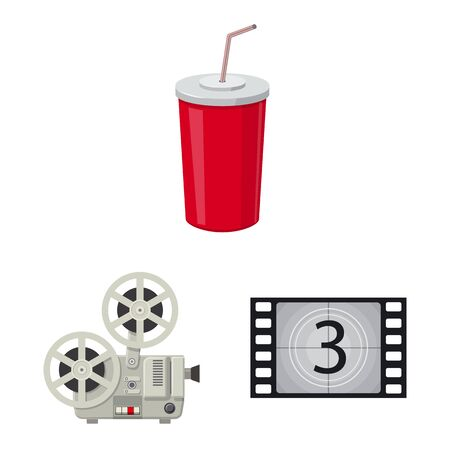 Isolated object of cinema and theater icon. Collection of cinema and entertainment stock symbol for web.