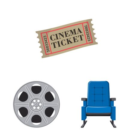Isolated object of cinema and theater. Collection of cinema and entertainment vector icon for stock.