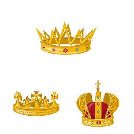 Vector illustration of monarchy and gold. Collection of monarchy and heraldic stock symbol for web. Stok Fotoğraf - 130009804