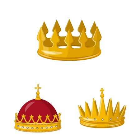 Vector illustration of monarchy and gold icon. Collection of monarchy and heraldic stock vector illustration. Stok Fotoğraf - 130009863