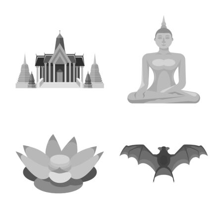 Isolated object of traditional and tourism symbol. Collection of traditional and exotic vector icon for stock.