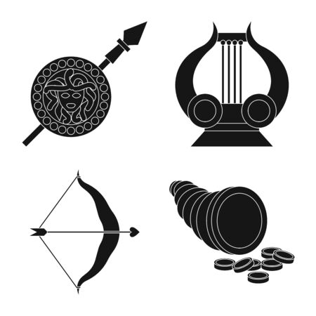 Vector illustration of religion and myths. Collection of religion and greek stock vector illustration. Banque d'images - 130009948