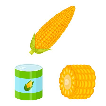 Vector illustration of maize and food icon. Set of maize and crop stock vector illustration.