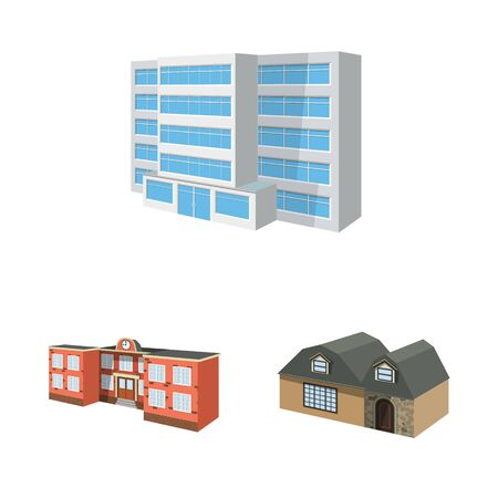 Vector design of building and home. Set of building and construction stock symbol for web. Illustration