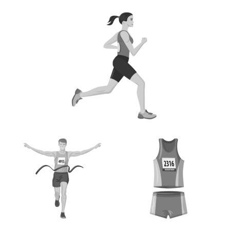 Vector design of success and marathon sign. Set of success and winner stock symbol for web. Illusztráció