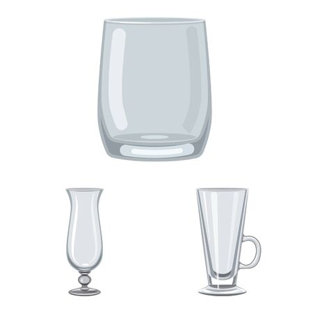 Isolated object of dishes and container sign. Set of dishes and glassware stock vector illustration.