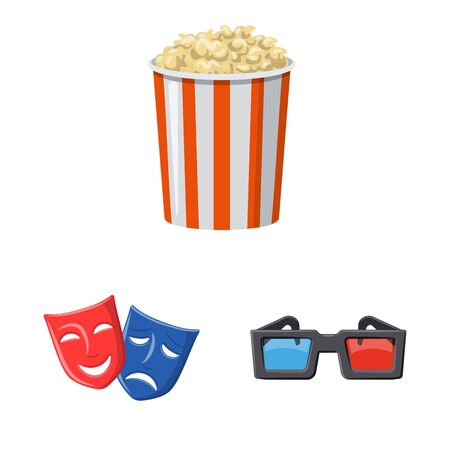 Isolated object of cinema and theater icon. Set of cinema and entertainment stock vector illustration.