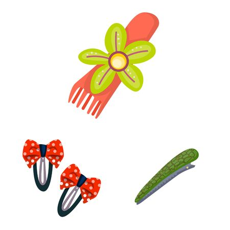 Vector illustration of barrette and hair. Set of barrette and accessories vector icon for stock. Иллюстрация