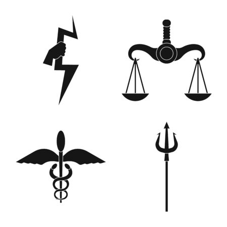 Isolated object of religion and myths icon. Collection of religion and greek vector icon for stock.