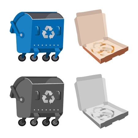 Isolated object of refuse and junk symbol. Collection of refuse and waste vector icon for stock.