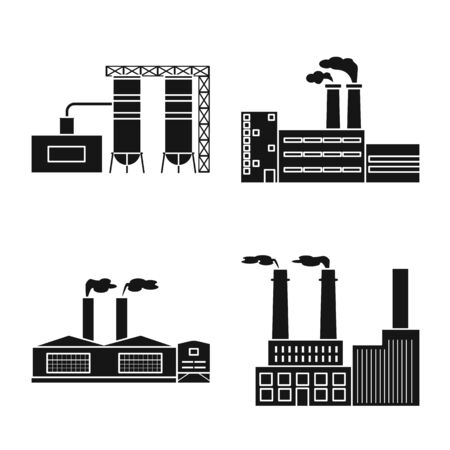Isolated object of factory and industry symbol. Set of factory and production stock vector illustration.  イラスト・ベクター素材