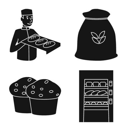 Vector design of bakery and natural icon. Collection of bakery and product stock symbol for web.