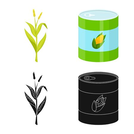 Vector illustration of cornfield and vegetable icon. Collection of cornfield and vegetarian vector icon for stock. Banque d'images - 130010277