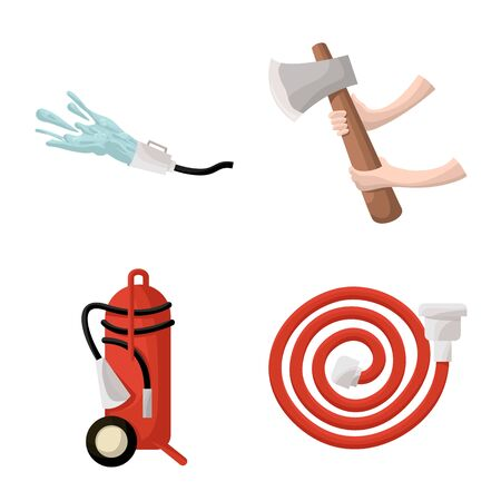 Isolated object of firefighters and fire icon. Set of firefighters and equipment stock vector illustration.  イラスト・ベクター素材