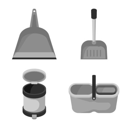 Vector design of tool and mopping symbol. Set of tool and household stock vector illustration. 스톡 콘텐츠 - 130087395