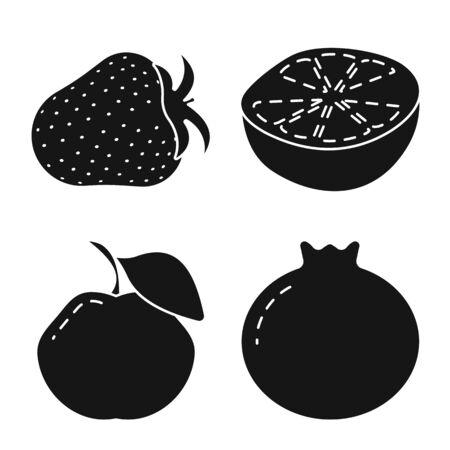 Vector design of vegetarian and organic sign. Set of vegetarian and food stock symbol for web. Çizim