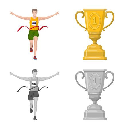 Vector design of sport and winner . Collection of sport and fitness vector icon for stock. Ilustracja