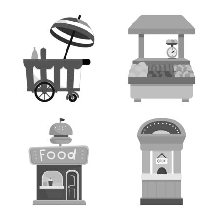 Vector illustration of service and storefront symbol. Set of service and store vector icon for stock.