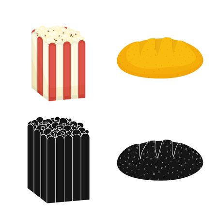 Vector design of cornfield and vegetable sign. Set of cornfield and vegetarian stock vector illustration. Stock fotó - 129990528