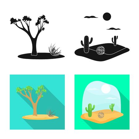 Vector illustration of landscape and nature . Set of landscape and environment stock vector illustration.
