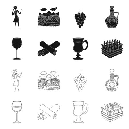 Vector design of farm and vineyard icon. Collection of farm and product stock symbol for web.