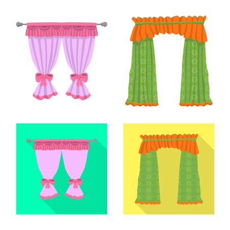 Vector illustration of curtains and drapes. Set of curtains and blinds vector icon for stock. Иллюстрация
