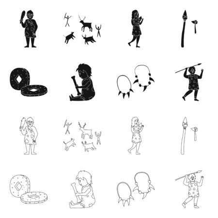 Vector illustration of evolution and neolithic icon. Set of evolution and primeval stock symbol for web. Illustration