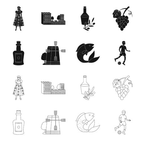 Vector design of and historic. Collection of and country stock vector illustration.