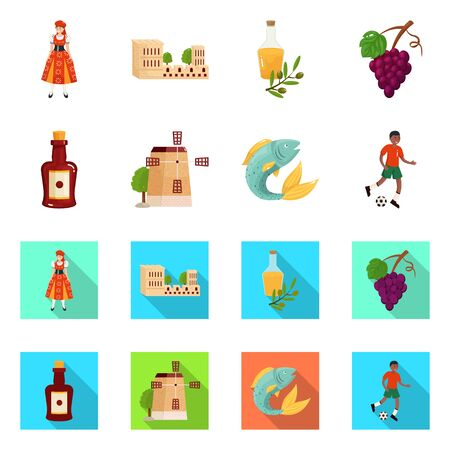 Vector design of and historic symbol. Collection of and country vector icon for stock. Ilustracja