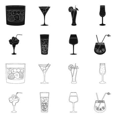 Isolated object of liquor and restaurant. Collection of liquor and ingredient stock symbol for web.