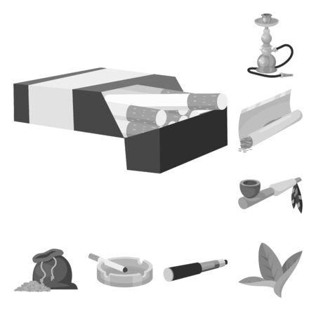 Vector illustration of equipment and smoking. Collection of equipment and harm vector icon for stock.