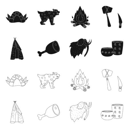Isolated object of evolution and neolithic symbol. Collection of evolution and primeval vector icon for stock. Imagens - 130010399