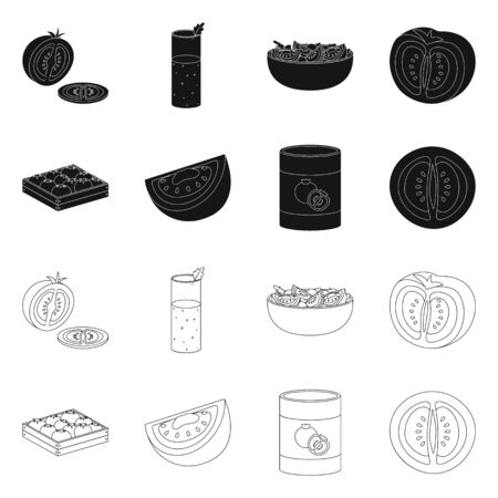 Vector illustration of vegetable and delicious icon. Collection of vegetable and natural stock vector illustration. 일러스트