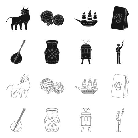 Vector illustration of and historic. Collection of and country vector icon for stock.