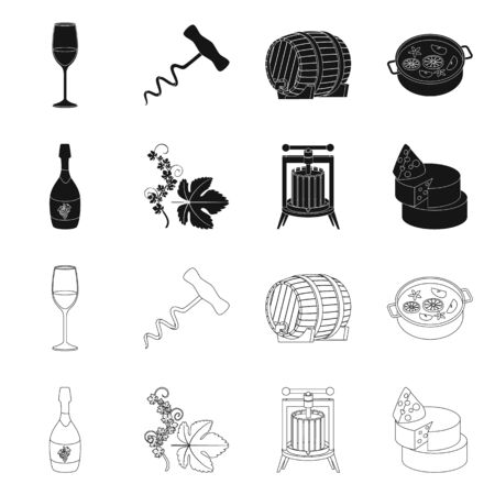 Vector illustration of farm and vineyard icon. Set of farm and product stock symbol for web.
