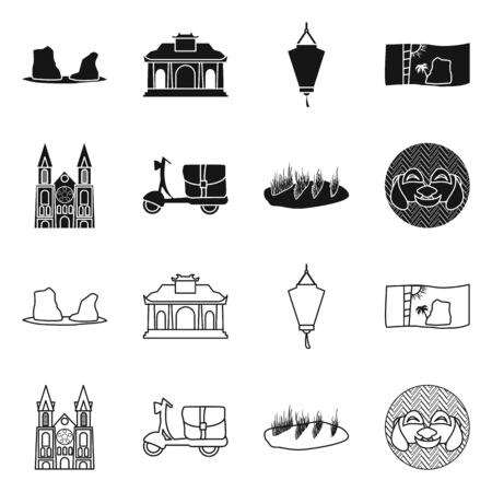 Vector design of vietnam and traditional  . Collection of vietnam and landmark vector icon for stock. Çizim