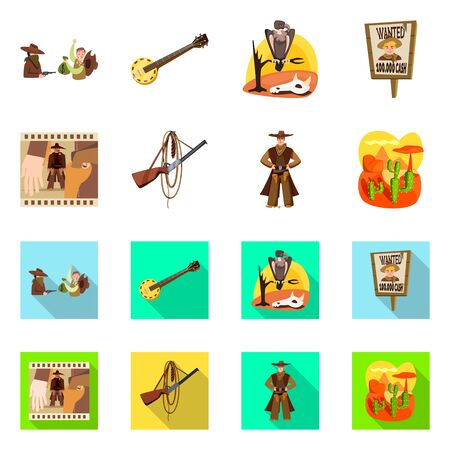 Vector illustration of texas and history icon. Set of texas and culture stock symbol for web.  イラスト・ベクター素材