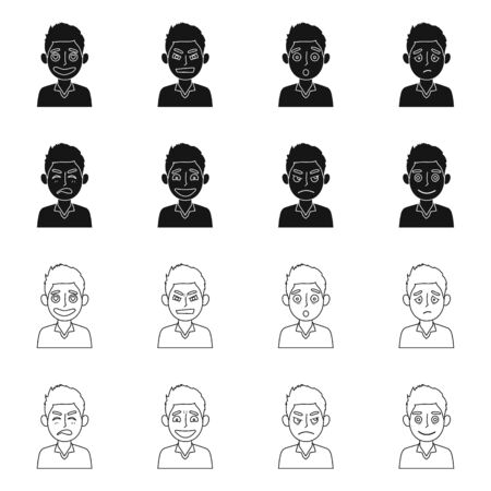 Vector design of face and boy symbol. Collection of face and expression stock symbol for web.
